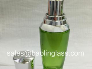 50ml green glass lotion pump bottle