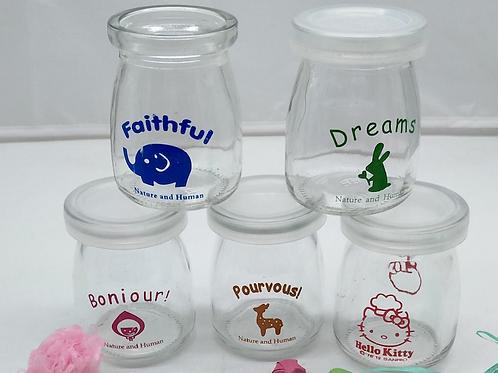 Custom logo 100ml 200ml glass pudding jar
