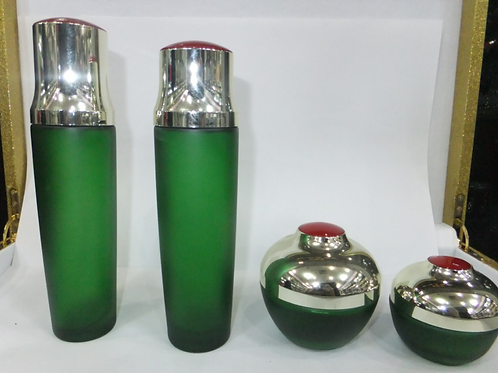 Green color cosmetics glass package