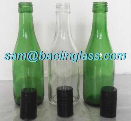 187ml clear green champagne bottle