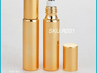 10 ml Golden UV Glass Roll-on Bottles with Stainless Steel Roller Balls
