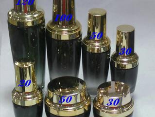 Wholesale black cosmetic jar and bottle set