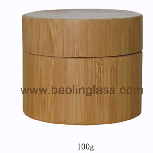 Bamboo cosmetic jar container