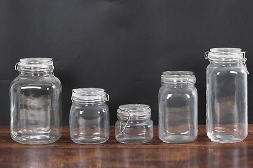 Storage glass jar with clamp lid