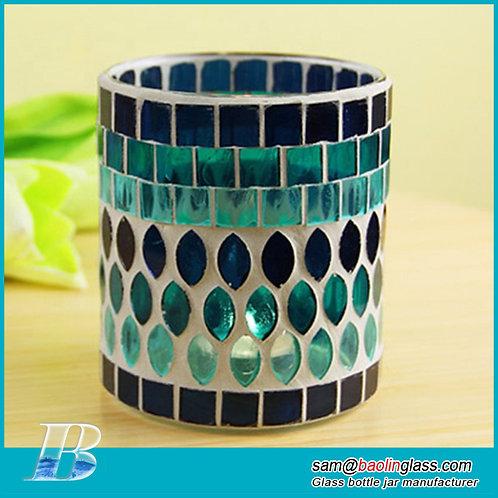 Mosaic Glass Bottle Candlestick Romantic Candlelight