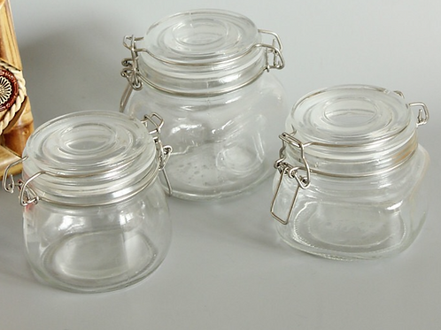 500ml clip glass jar for tea or facial mask