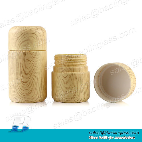 custom printing wood bamboo pattern child resistant jar hemp glass container