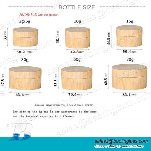 Portable Bamboo Handmade Cosmetics Bottled cream Washing Set glass plastic jar
