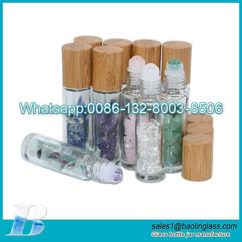 Clear Glass Roller Bottles With Natural Crystal Gemstone Roller Balls Top,Bamboo