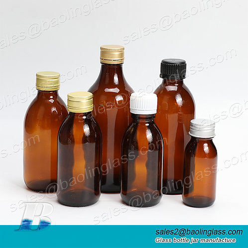 30ml-1000ml oral liquid brown transparent medicine glucose glass bottle with cap