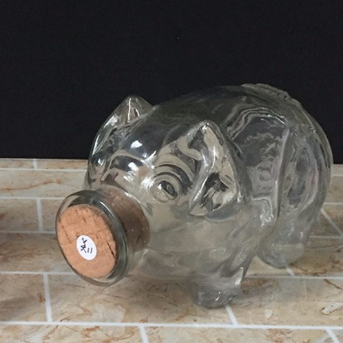Cute Pig Shape Glass Jar With Cork
