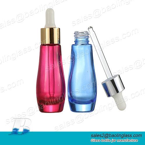 30ml glass luxury gourd cosmetic essential oil dropper bottle cosmetic serum