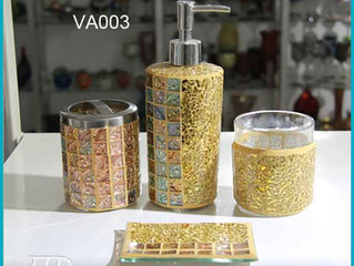 Glass Mosaic Bath Accessory Completes set with Lotion Dispenser