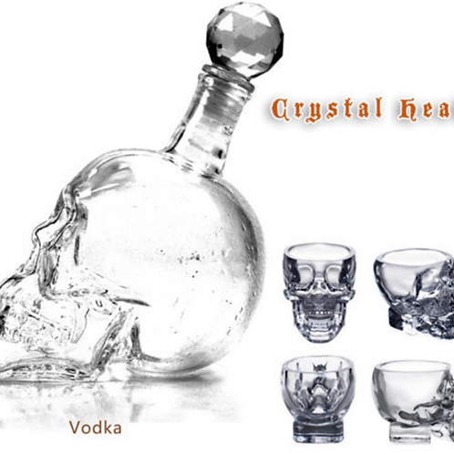 Crystal Skull Decanter Wine Glass Bottle 1000 ML & Vodka Shot