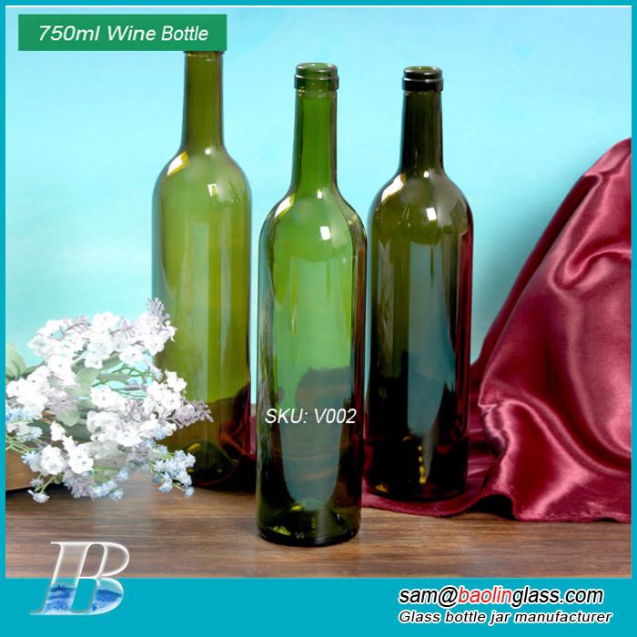750ml green red wine glass bottle