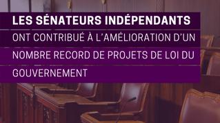 Les sénateurs indépendants ont contribué à l'amélioration d'un nombre record de projets de loi du go
