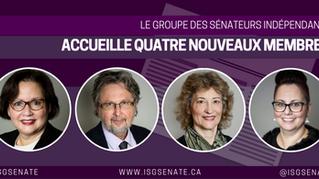 Le Groupe des sénateurs indépendants accueille quatre nouveaux membres, renforce sa majorité dans la