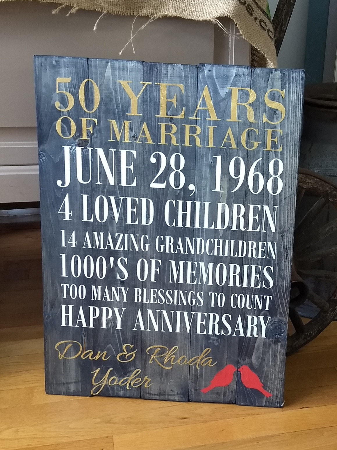 Anniversary Sign - Personalized