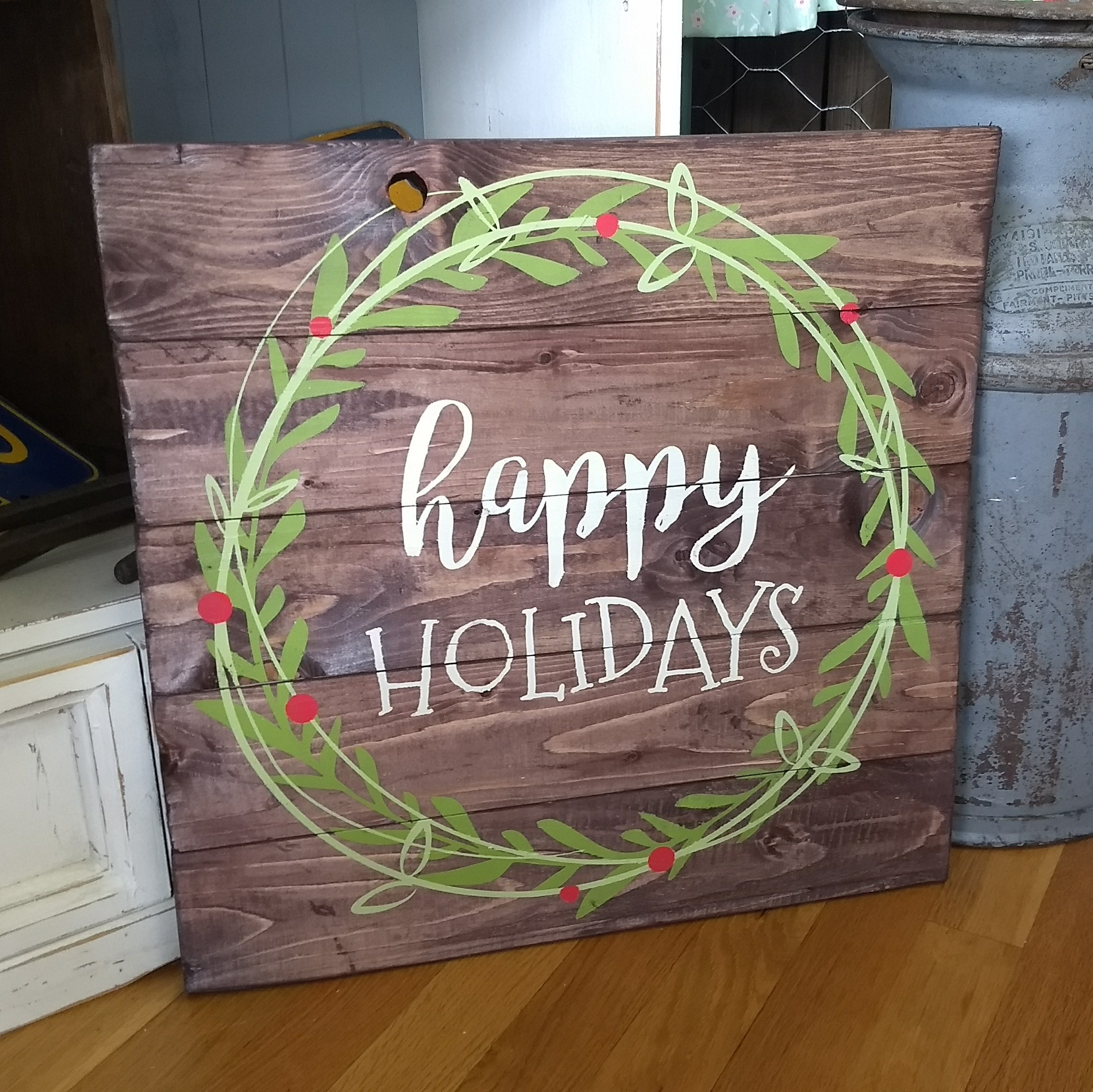 Happy HOLIDAYS - double wreath