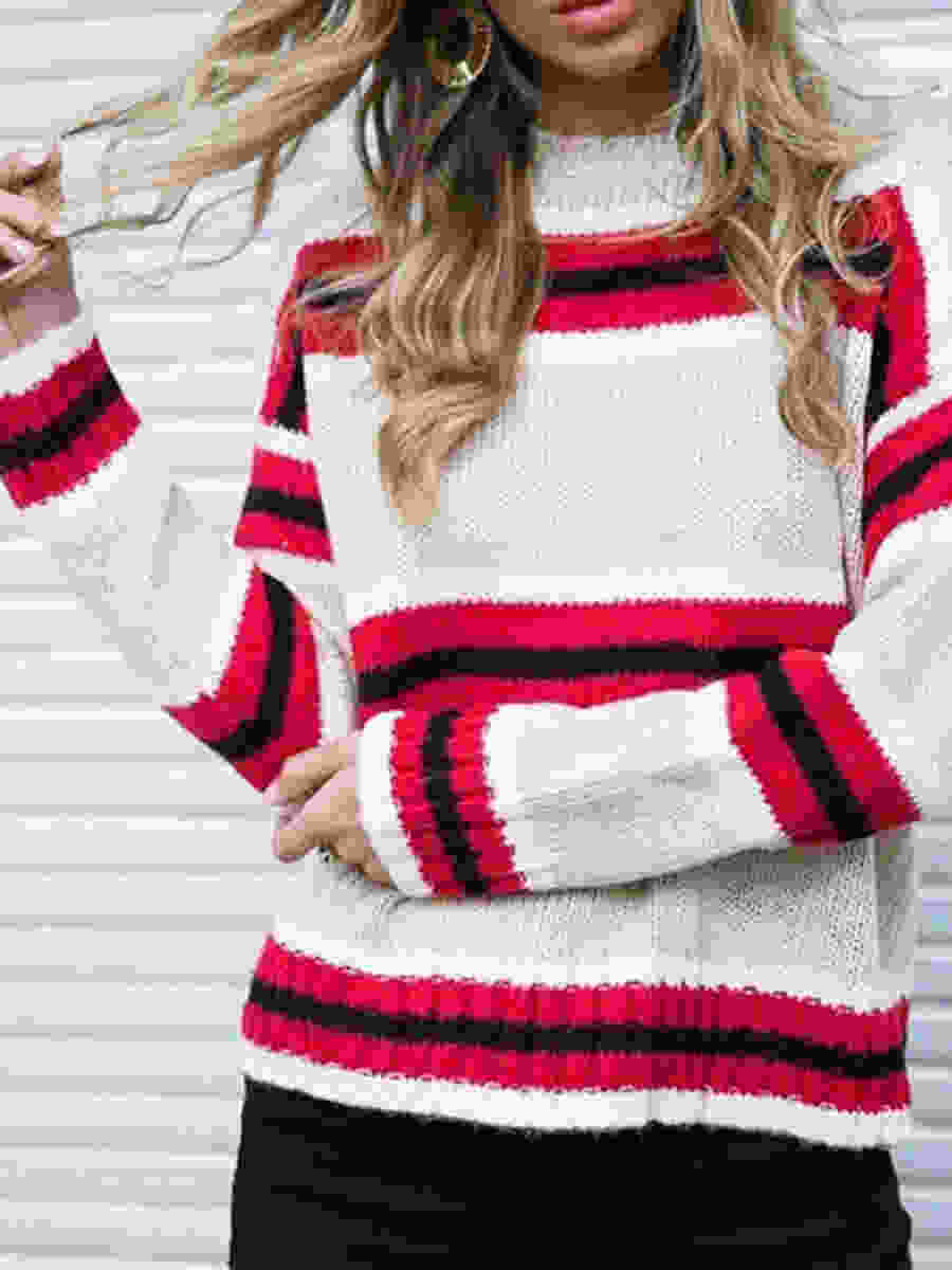 Round Neck Striped Knitwear