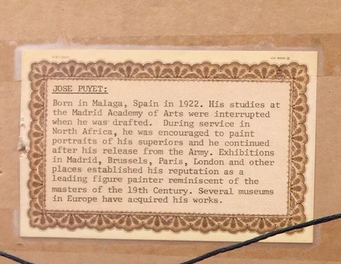 Puyet, Jose' - note on back of frame