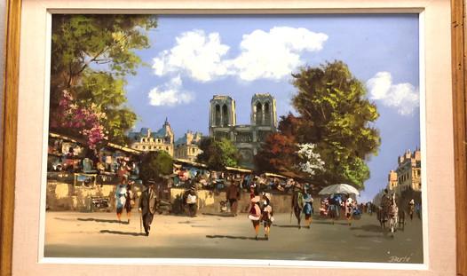 Henri Berte' - Paris street scene w/frame