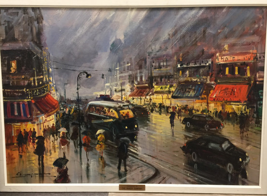 C. H[_ _ _.], Paris rainy night scene w/frame