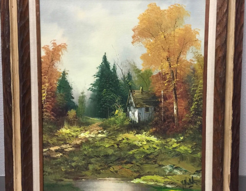 Hill, Autumn scene w/frame