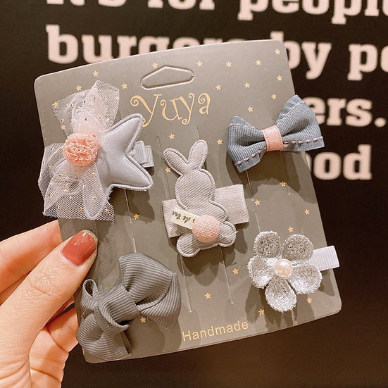 Grey Fabric Hair Clips 5 Pack