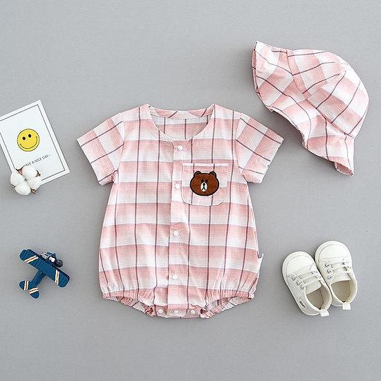 Pink Gingham Bear Romper and Hat Set