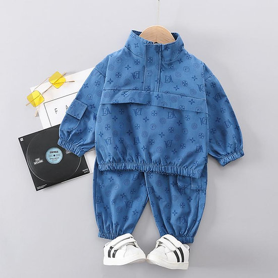 Blue Monogram Coat & Trouser Set