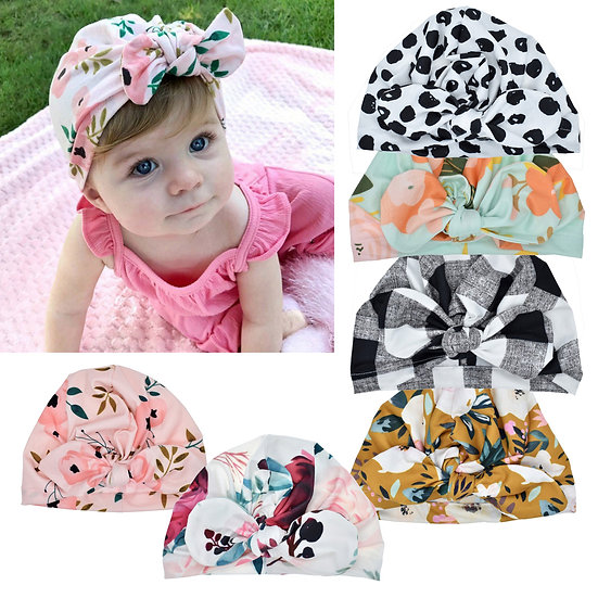 Girls Bow Knot Pattered Hat
