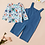 Thumbnail: Floral Top + Embroidered Jumpsuit Set