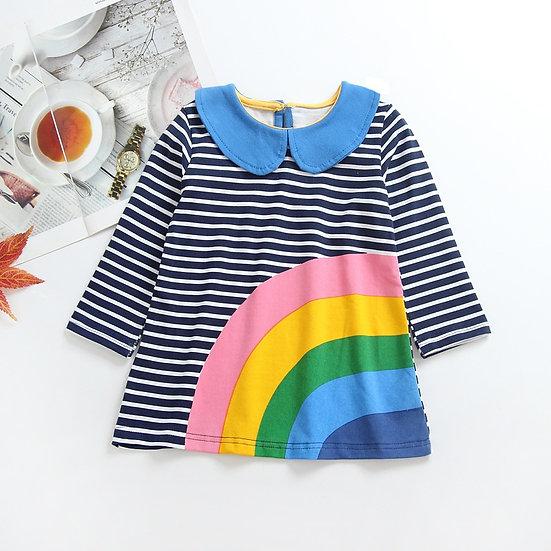Peter Pan Collar Rainbow Dress