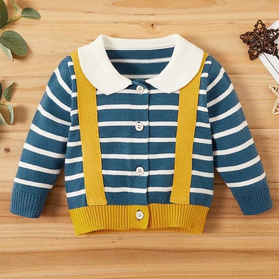 Braces Stripe Knitted Cardigan