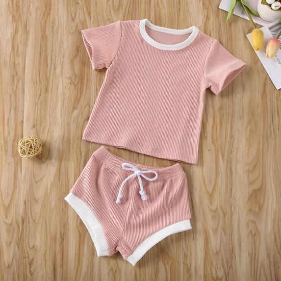 Pink Ribbed T-Shirt & Shorts Set