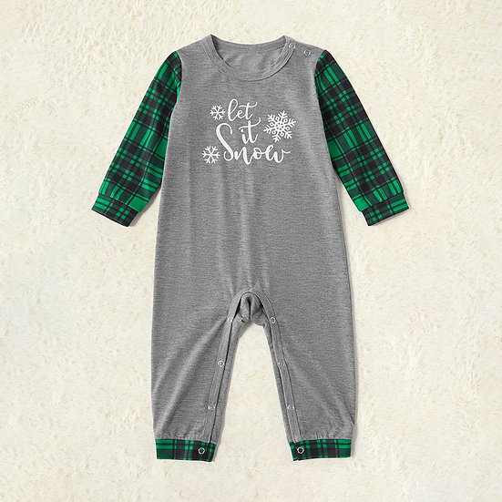 Grey Green Let It Snow Christmas Romper