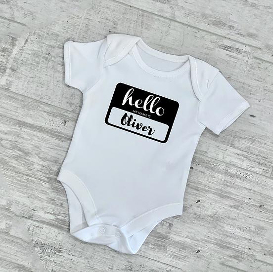 Hello My Name Is Baby Vest