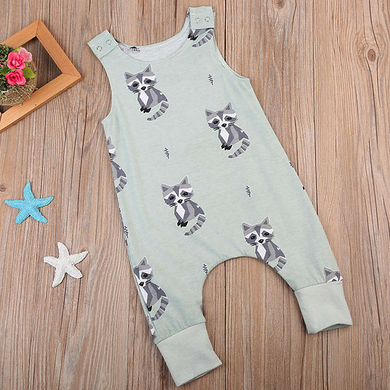Raccoon Green Romper
