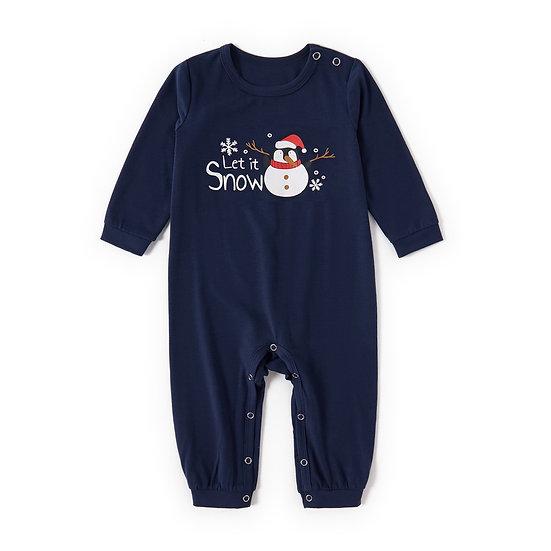 Navy Snowman Let It Snow Christmas Romper