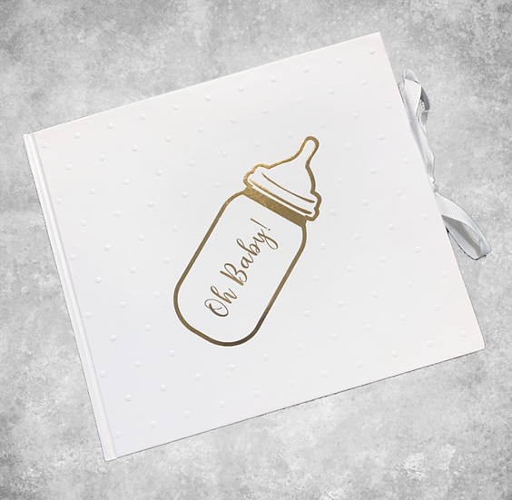 White & Gold 'Oh Baby' Guestbook