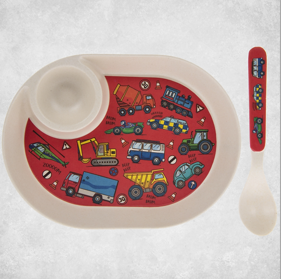 Bamboo Vehicles Egg Plate & Spoon