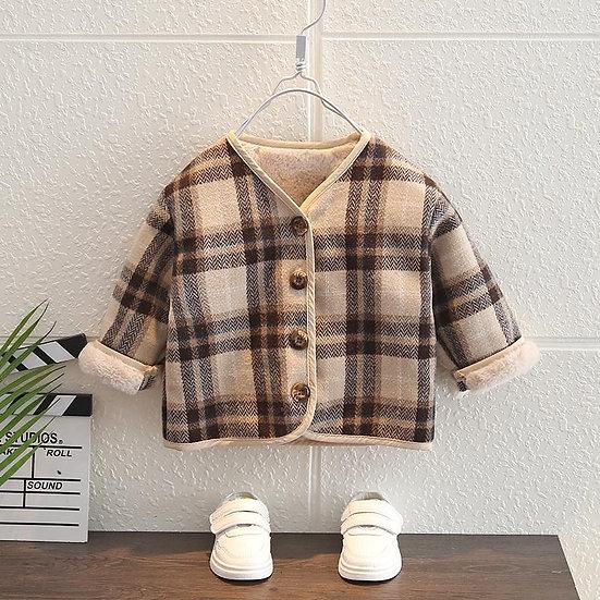 Brown Check Fleece Lined Coat