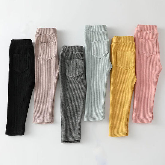 Ribbed Soft Trousers with Pockets