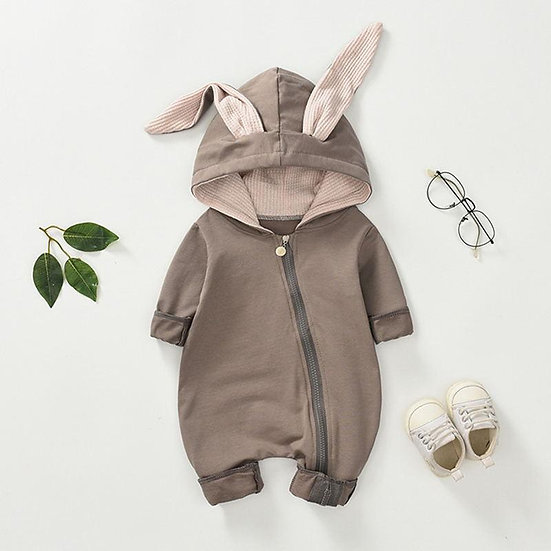 Brown Bunny Zip Romper