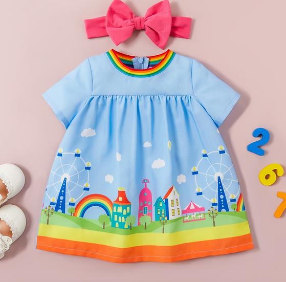 Rainbow City Dress + Headband
