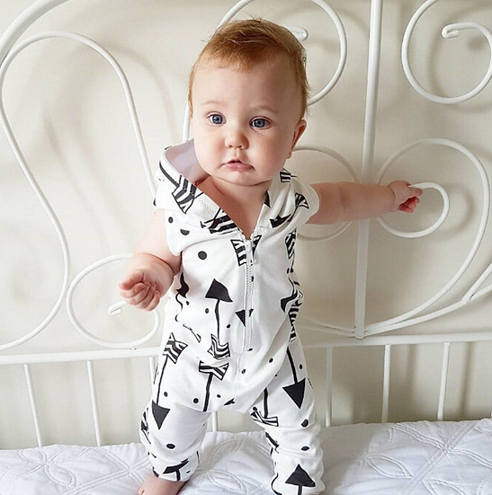 Sleeveless White Arrow Hooded Romper