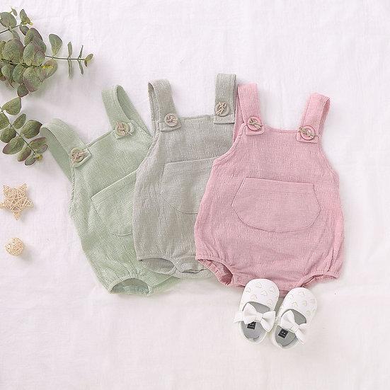 Linen Style Pocket Romper