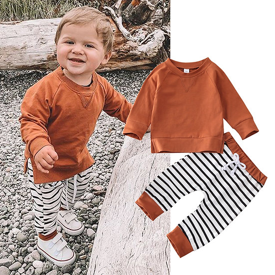 Rust Stripe Loungewear Set