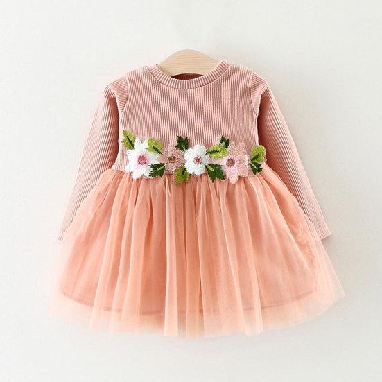Pink Floral Embroidered Tutu Dress